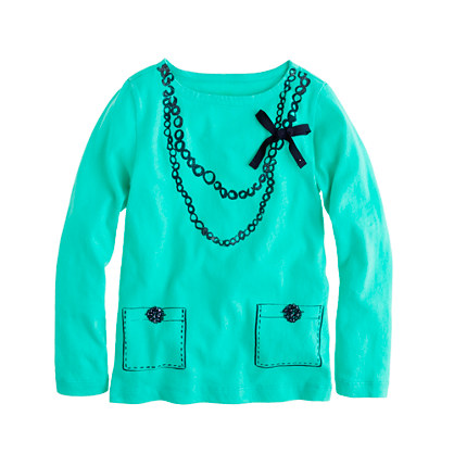 Girls' trompe l'oeil necklace tee