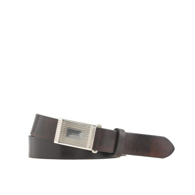 Classic leather plaque belt