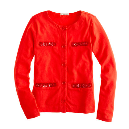 Girls' embellished cotton cardigan