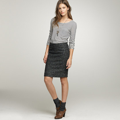 Moss tweed pencil skirt
