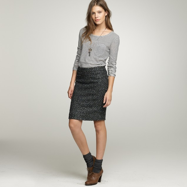 Moss tweed pencil skirt