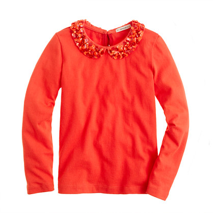 Girls' long-sleeve sparkle-collar tee
