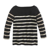 Girls' three-quarter sleeved sequin stripe tee