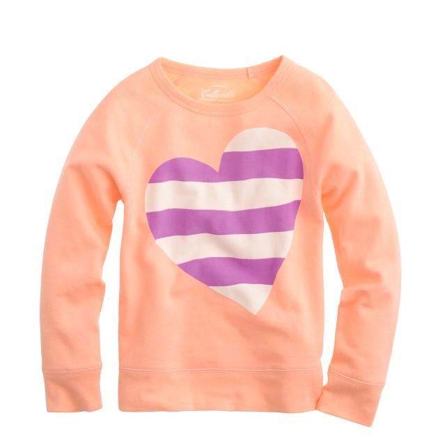 Girls' stripe heart long-sleeve tee