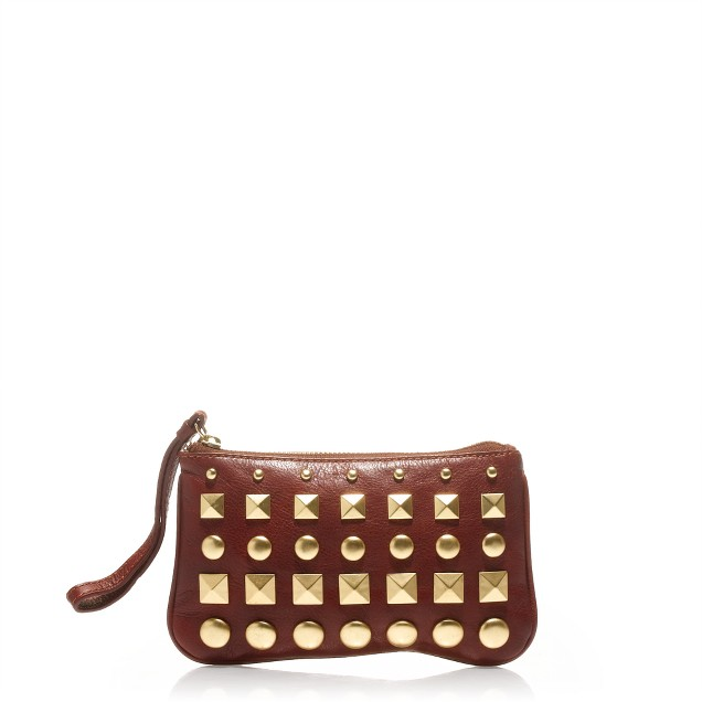 Studded leather pouch