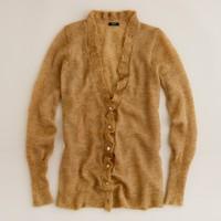 Heathered lumière ruffle cardigan