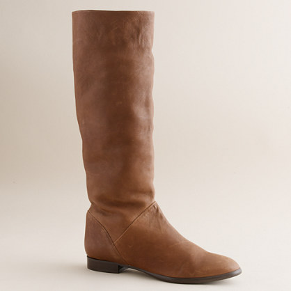 Sutton tall leather flat boots with extended calf