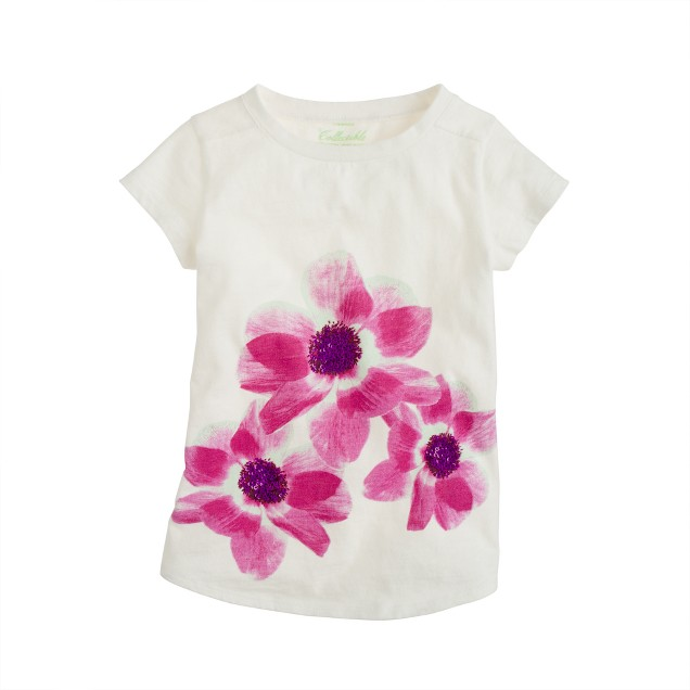 Girls' supersoft floral sequin tee