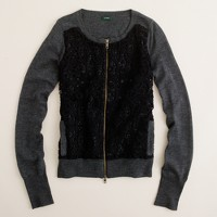 Merino lace zip cardigan
