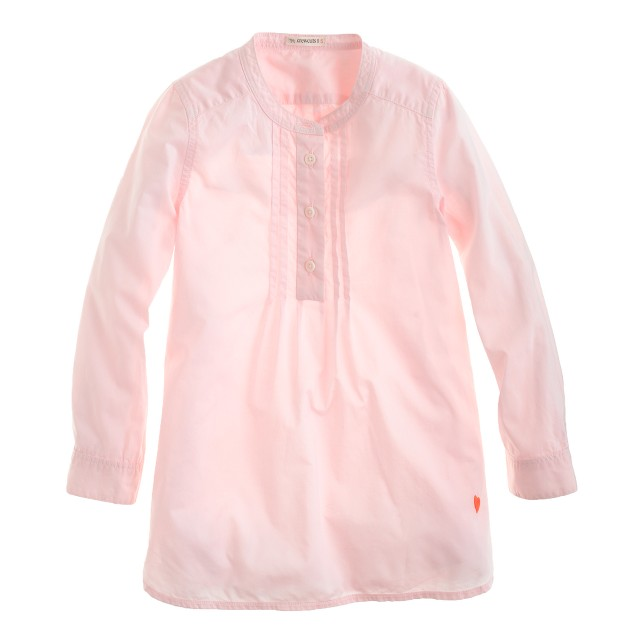 Girls' pleated bib tunic in garment-dyed