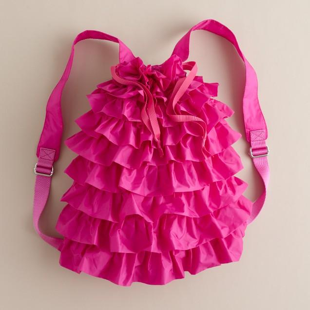 Girls' nylon ruffle backpack