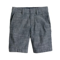 Boys' club short in grey chambray