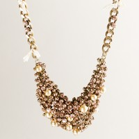 Pearl-sprinkled crystal bib necklace