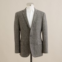 Suit jacket with double-vented back in bird's eye tweed