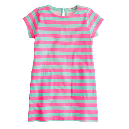 Girls' patch pocket dress in stripe