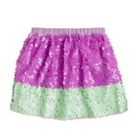 Girls' colorblock paillette skirt