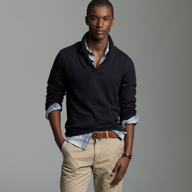 Cotton cashmere shawl collar sweater j crew for Mens sweater collared shirt