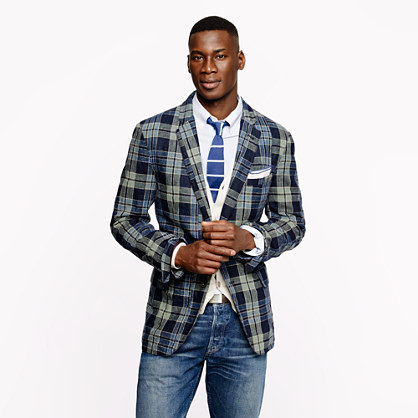Indigo plaid linen-cotton sportcoat