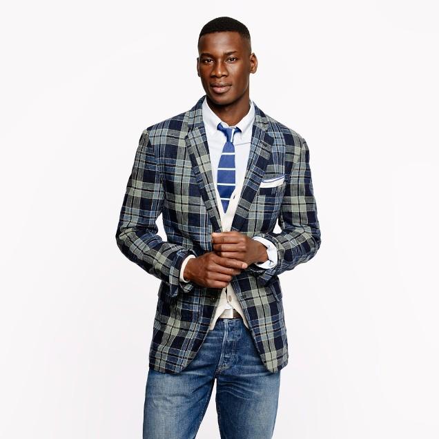 Indigo plaid linen-cotton sportcoat