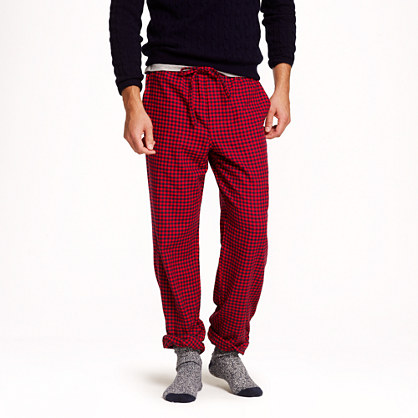 Slim flannel pajama pant in authentic red plaid