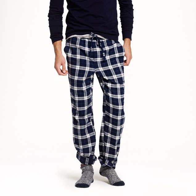 Slim flannel pajama pant in bedford blue plaid