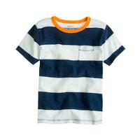 Boys' ringer pocket tee in wide stripe