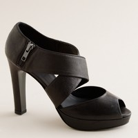 Lindy leather platform peep toes