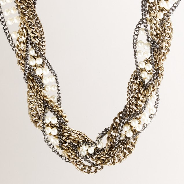 Braided chain-and-pearl necklace