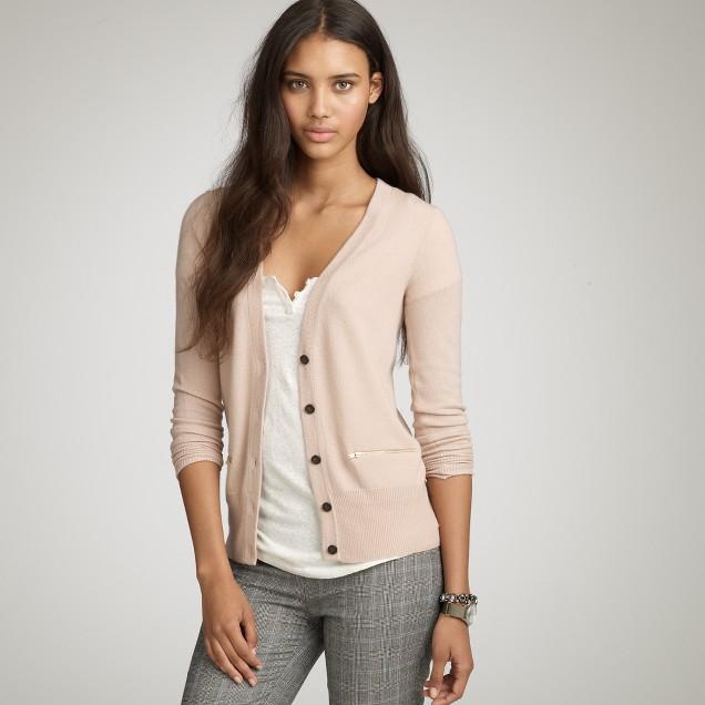 Cashmere zip cardigan
