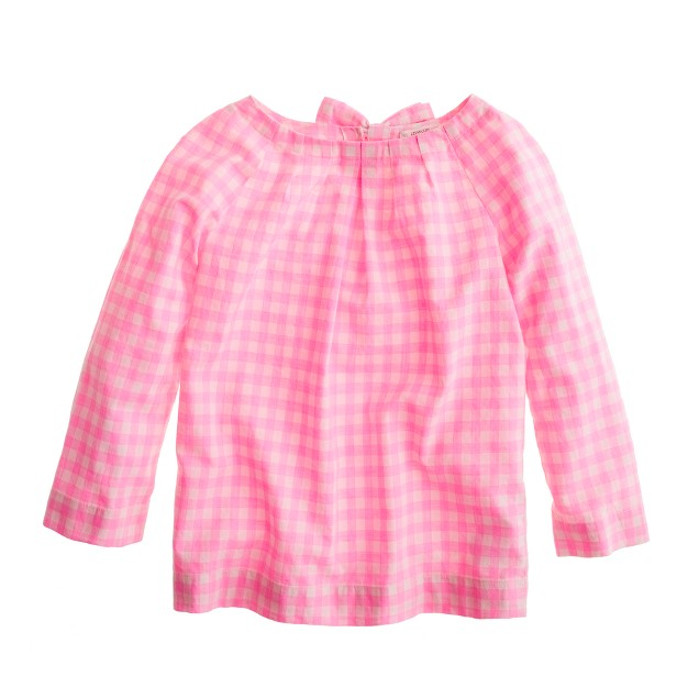 Girls' neon gingham top