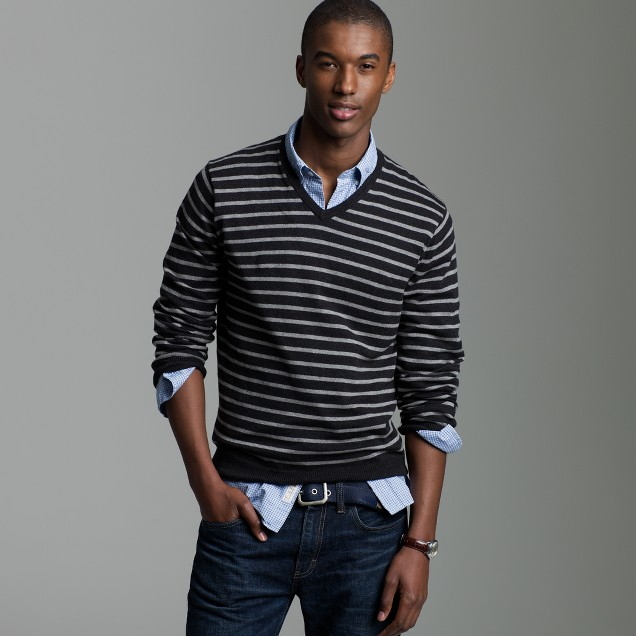 Cotton-cashmere nautical-stripe V-neck sweater