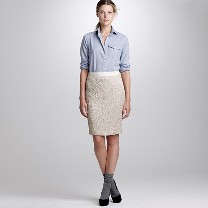 Metallic gauze pencil skirt