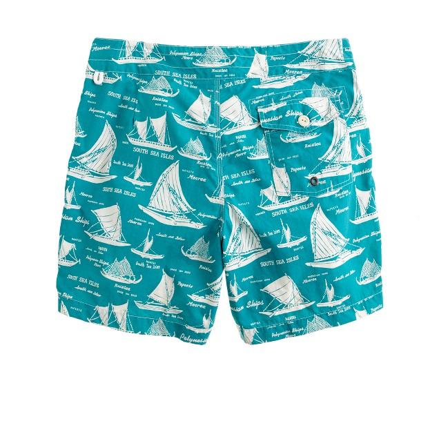 "7"" board shorts in nautical print"