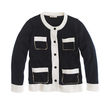 Girls' jeweled pocket cardigan
