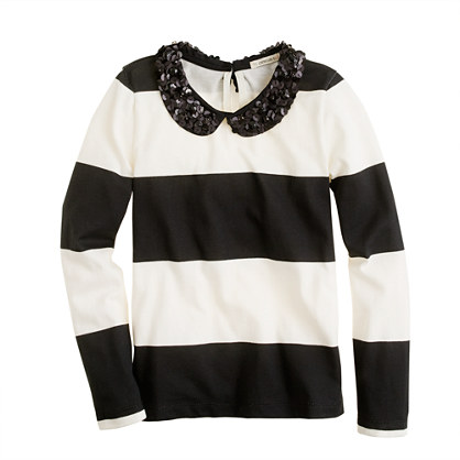Girls' long-sleeve sparkle-collar tee in stripe