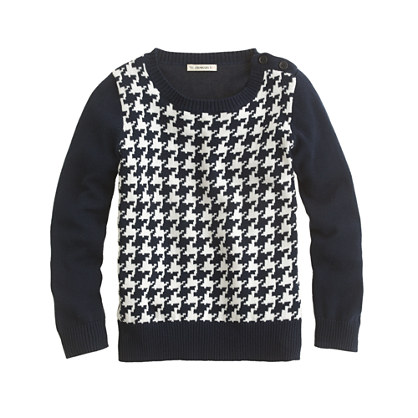 Girls' houndstooth button sweater