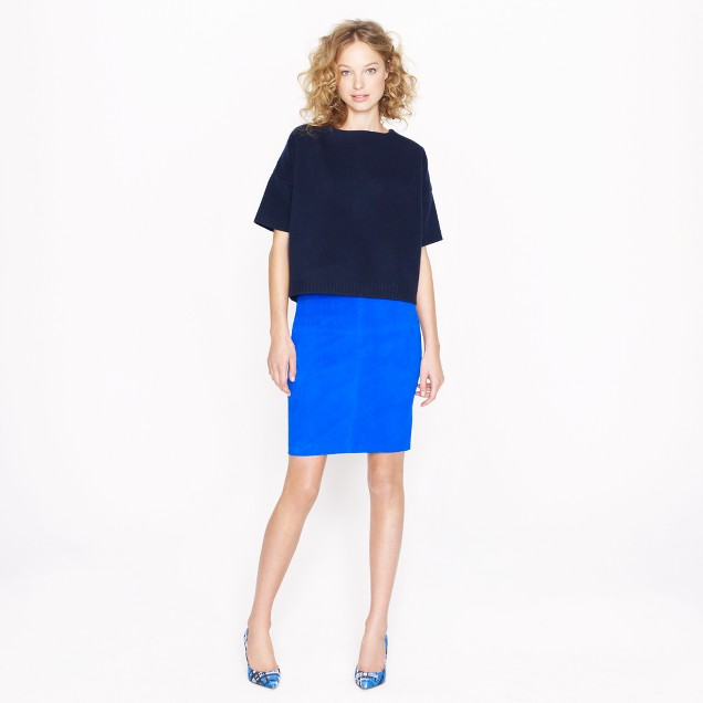 Collection pencil skirt in stretch suede