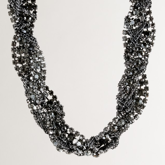 Braided crystal chain necklace