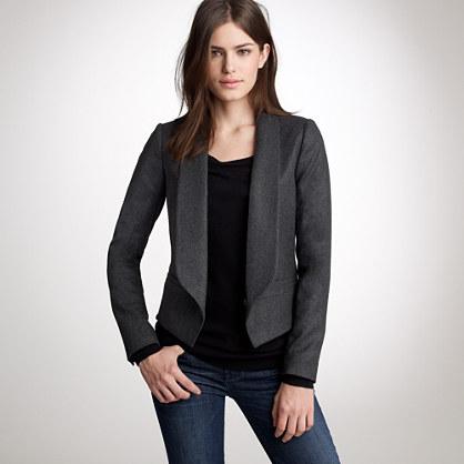 Cropped wool tuxedo jacket