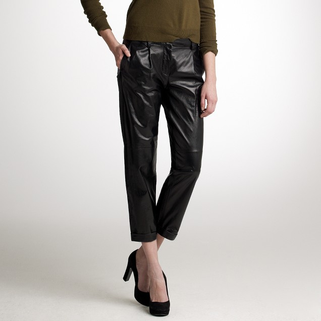 Pleated leather trouser