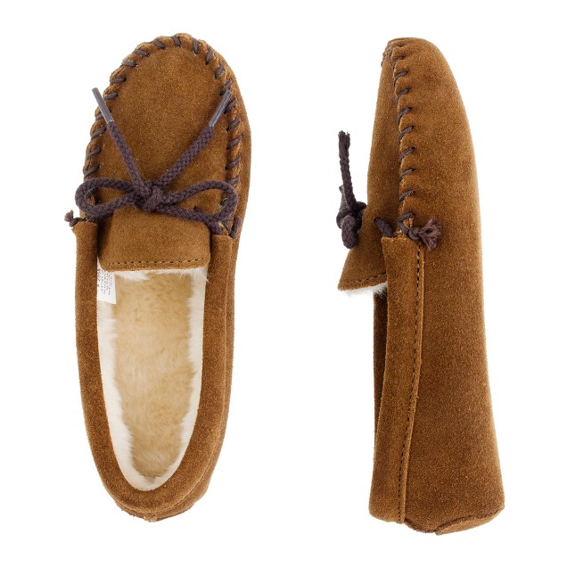 Kids 39 minnetonka lined moccasin slippers j crew for J crew bedroom slippers