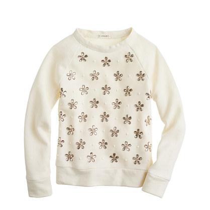Girls' jeweled blossoms sweatshirt