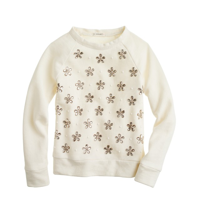 Girls' jeweled blossoms sweatshirt