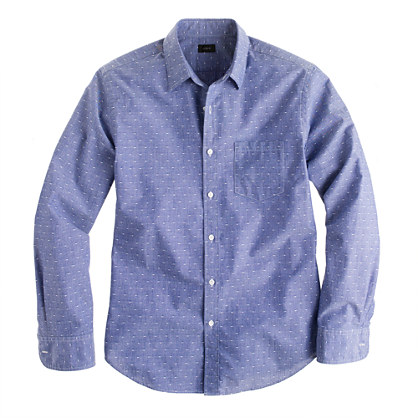 Slim chambray shirt in blue dot