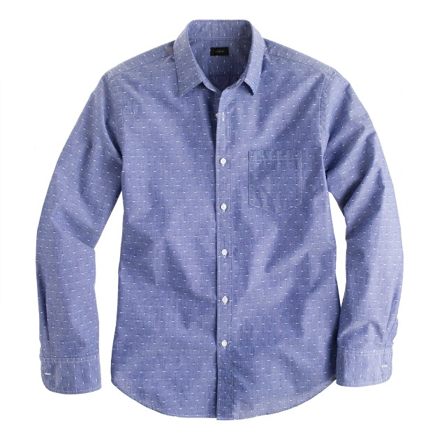 Chambray shirt in blue dot