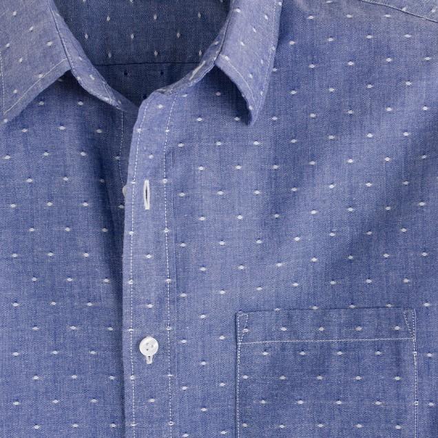 Chambray shirt in blue dot