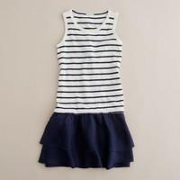 Girls' sailor-stripe ruffle dress