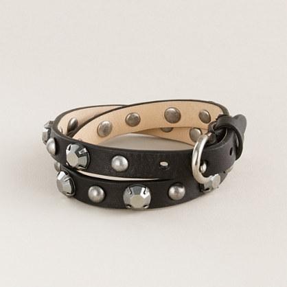 Jewel stud double-wrap bracelet