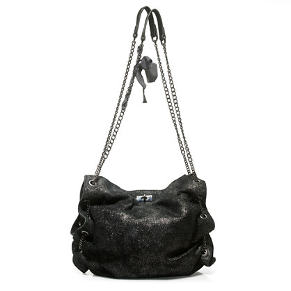 Coquette hobo in shimmer leather