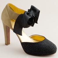 Ginger tweed bow-tie platform heels